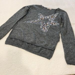 Girl H&M gray sweater with star sequins size 14